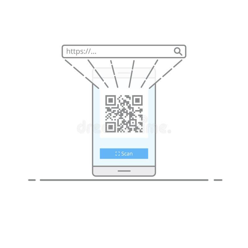 Código do qr da exploração do conceito com a câmera em seu telefone celular Uma maneira rápida de ir ao Web site ou à outra infor ilustração stock