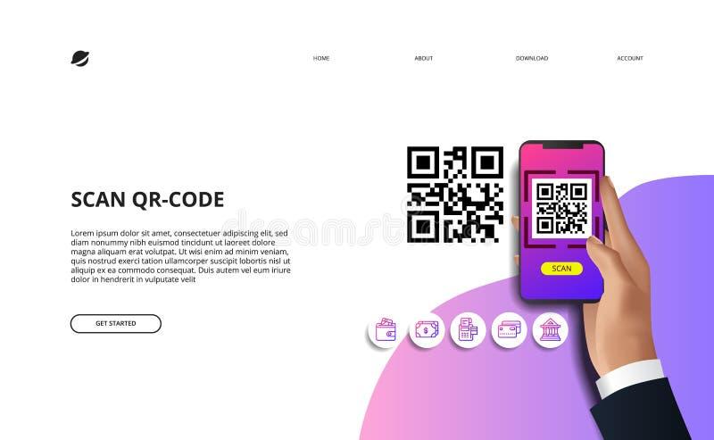 Código do qr da varredura para o conceito cashless da sociedade do pagamento em linha da finança ilustração royalty free