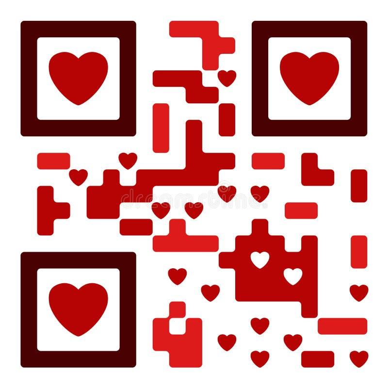 Código do qr do amor ilustração royalty free