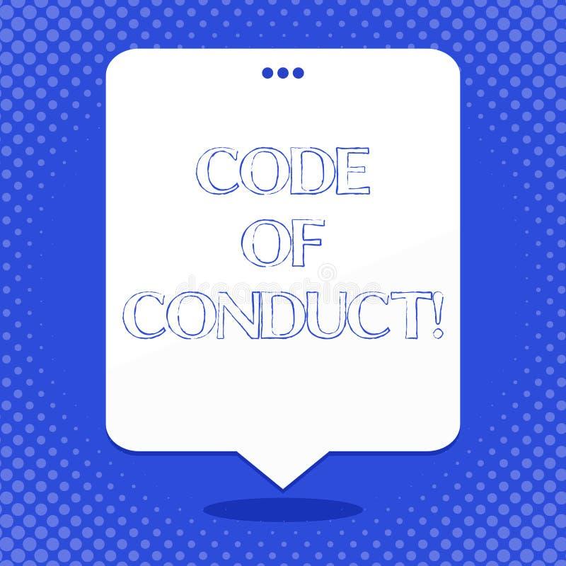 Código do texto da escrita da palavra de conduta Conceito do negócio para princípios Follow e padrões para a placa da integridade ilustração do vetor
