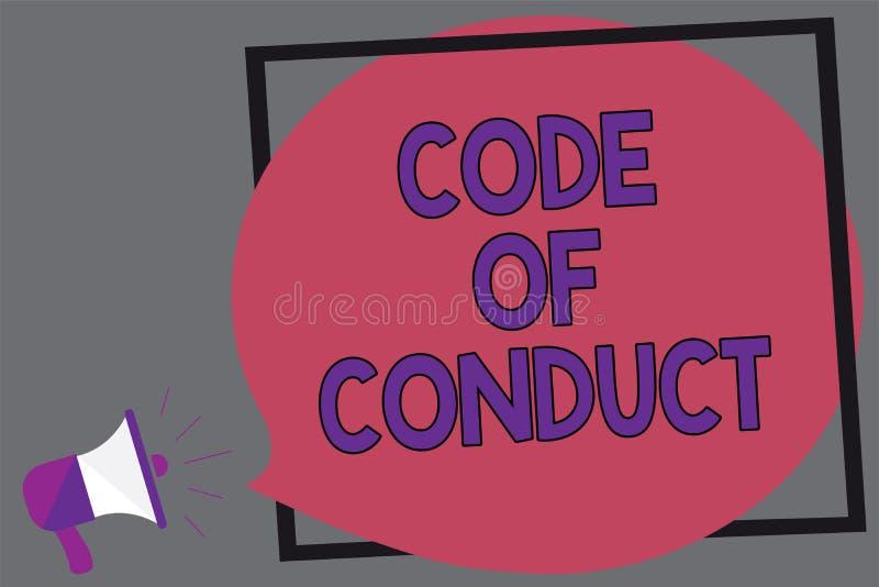 Código do texto da escrita da palavra de conduta O conceito do negócio para valores éticos dos princípios dos códigos morais das  ilustração do vetor
