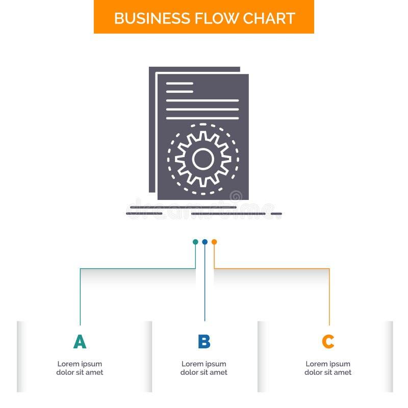Código, ejecutable, fichero, funcionamiento, diseño del organigrama del negocio de la escritura con 3 pasos Icono del Glyph para  ilustración del vector