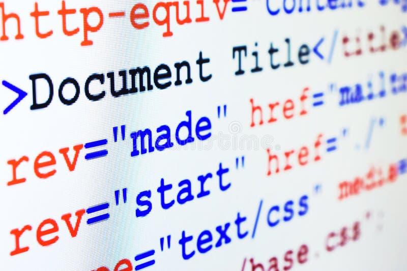 Código fonte do HTML do Web page com título fotos de stock royalty free