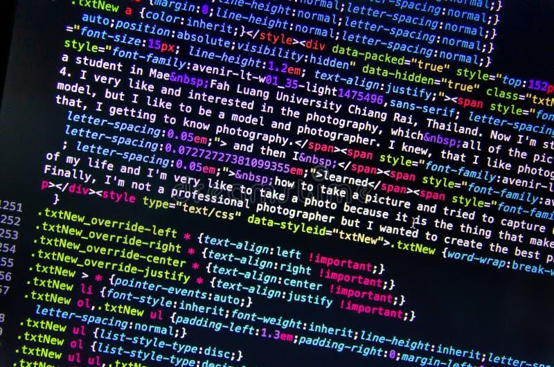 Código fuente de escritorio y papel pintado por lenguaje de programación con codi fotografía de archivo