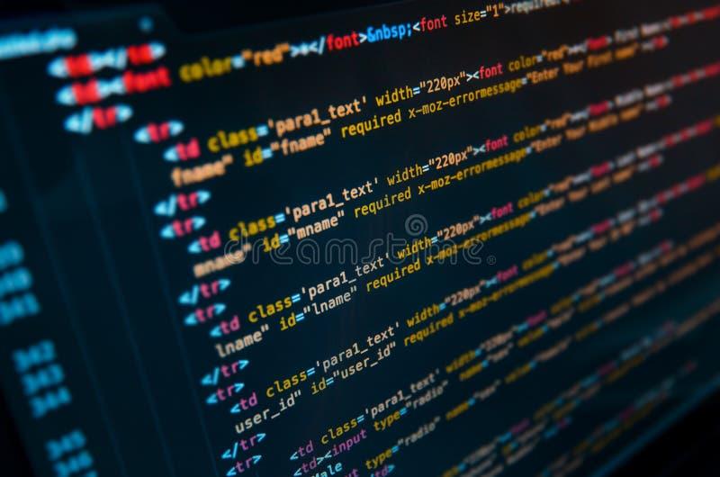 Código fuente de escritorio y papel pintado por lenguaje de programación con codi fotos de archivo