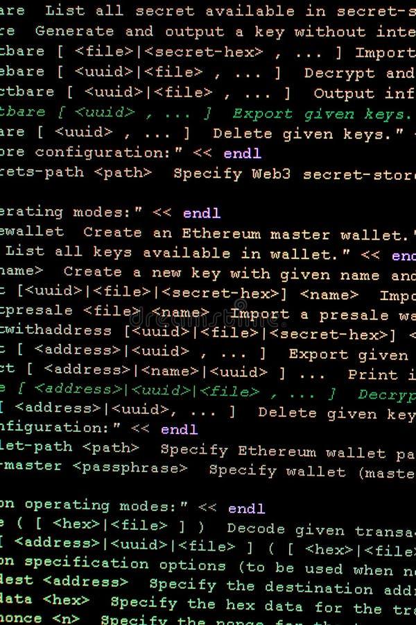 Código fuente de Ethereum, del cryptocurrency y del sistema descentralizado fotografía de archivo