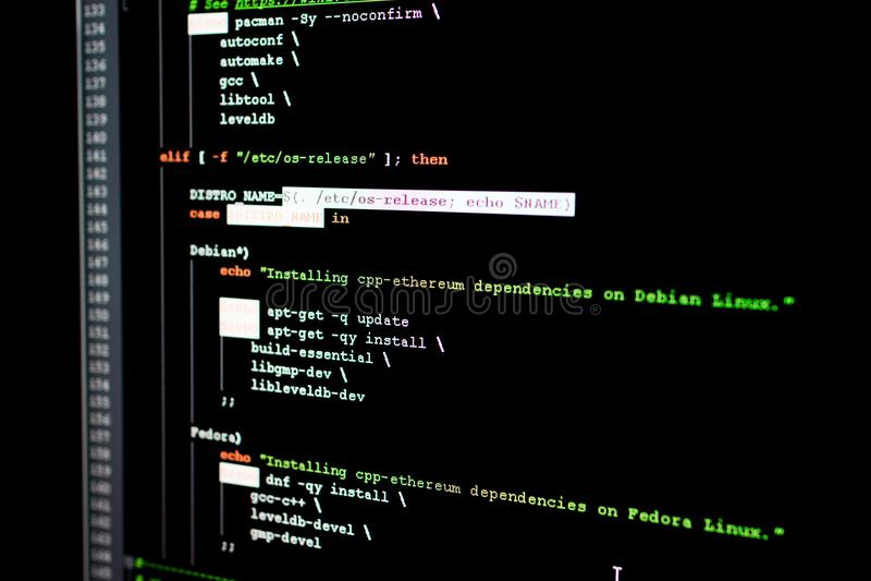 Código fuente de Ethereum, del cryptocurrency y del sistema descentralizado imágenes de archivo libres de regalías