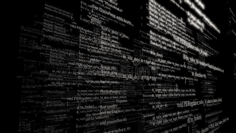 Código fuente del software Capas de código de programa en fondo negro fotos de archivo libres de regalías