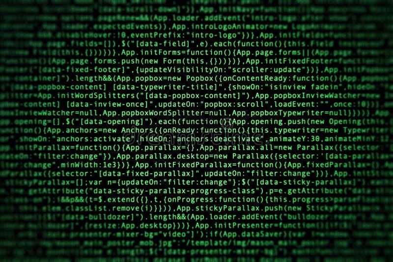 Código fuente del software en fondo oscuro foto de archivo libre de regalías