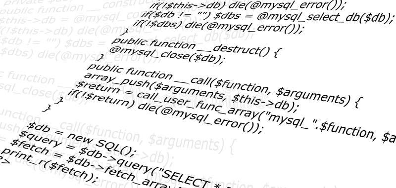 Código fuente programado del Web ilustración del vector