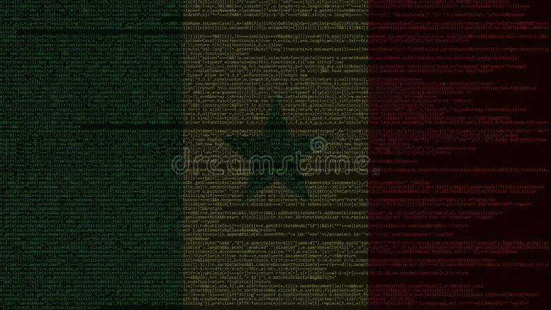 Código fuente y bandera de Senegal Tecnología digital senegalesa o representación relacionada programada 3D ilustración del vector