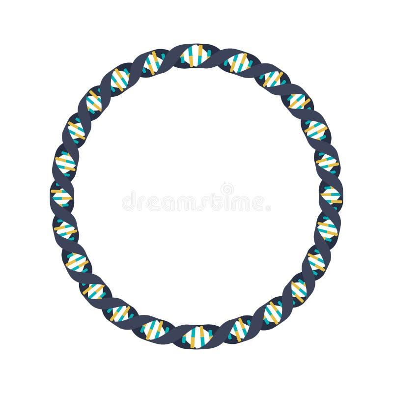 Código genético en círculo con las bases en colores fríos libre illustration