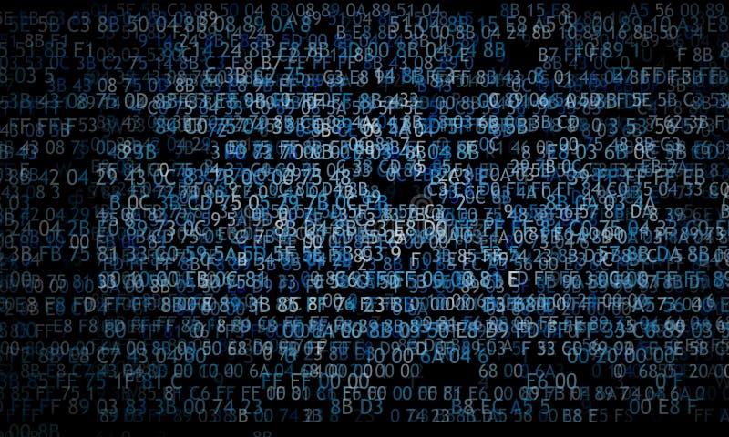 Código hexadecimal que funciona con para arriba una pantalla de ordenador en fondo negro Dígitos azules imagen de archivo libre de regalías