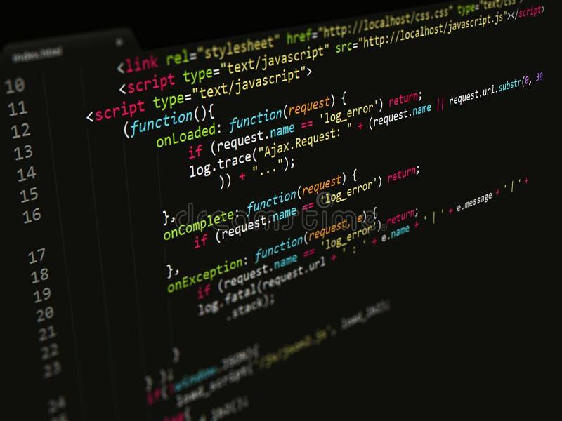 Código, Javascript en editor de texto imágenes de archivo libres de regalías