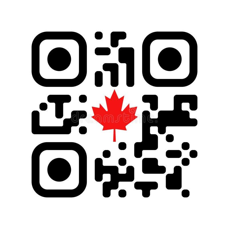 Código legible de Smartphone QR con el icono canadiense de la hoja de arce stock de ilustración