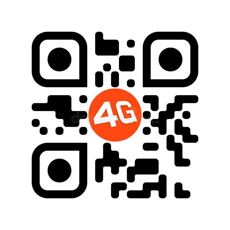Código legible de Smartphone QR con el icono 4G ilustración del vector