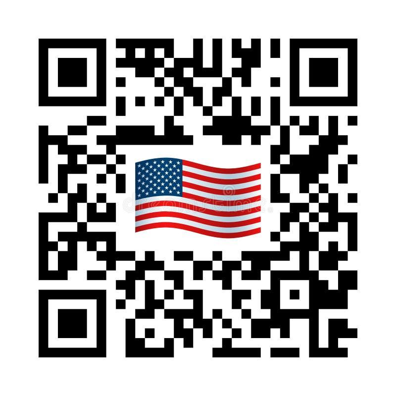 Código legible de Smartphone QR con el icono de la bandera de Estados Unidos libre illustration