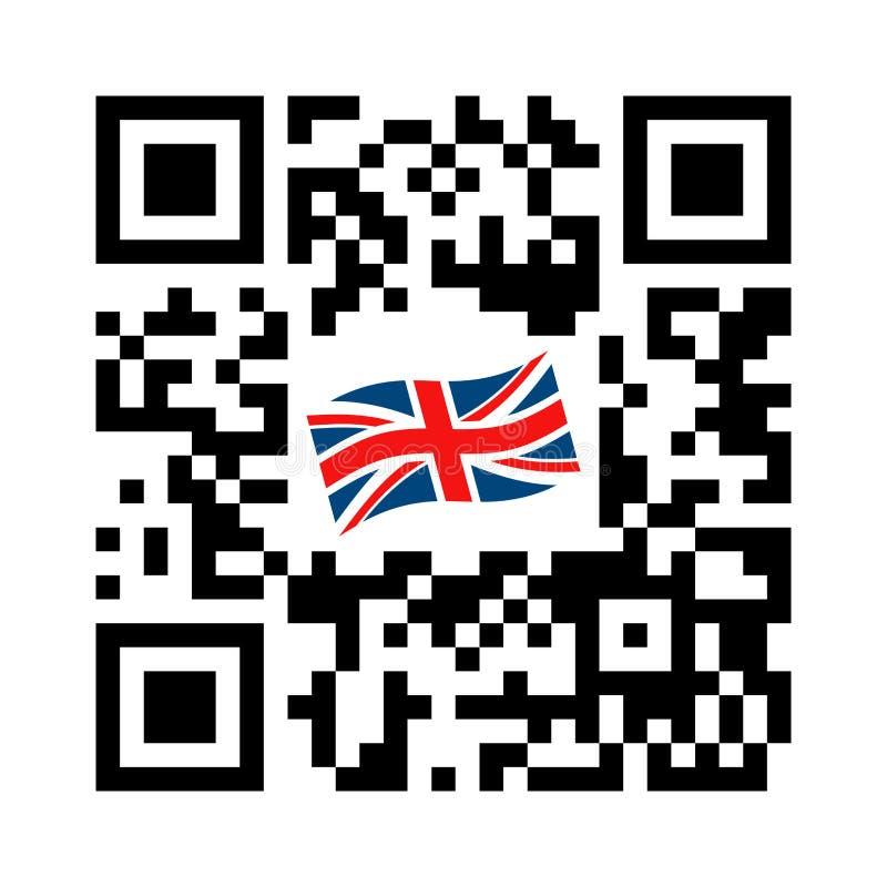 Código legible de Smartphone QR con el icono de la bandera de Reino Unido stock de ilustración