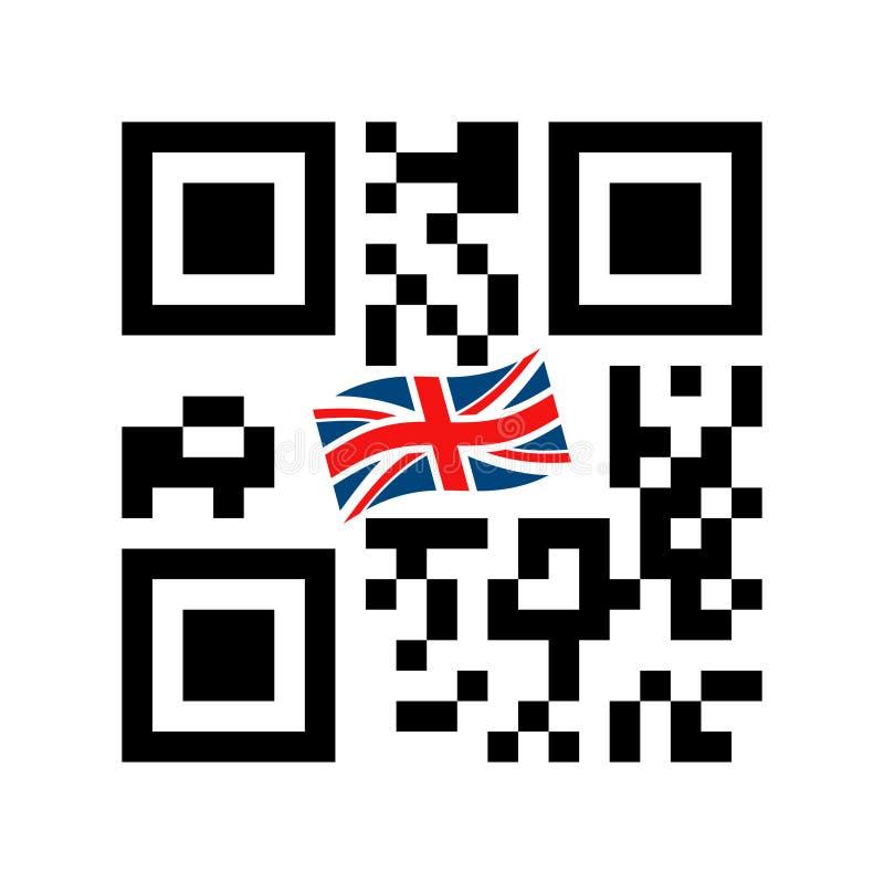 Código legible de Smartphone QR con el icono de la bandera de Reino Unido ilustración del vector