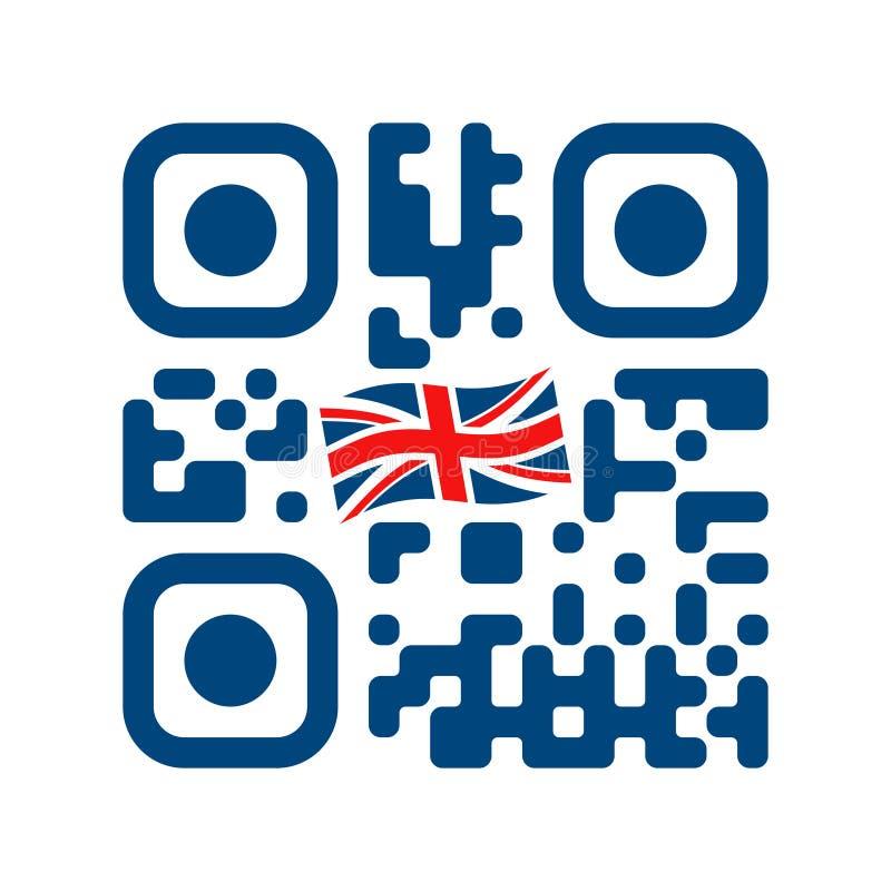 Código legible de Smartphone QR con el icono de la bandera de Reino Unido libre illustration
