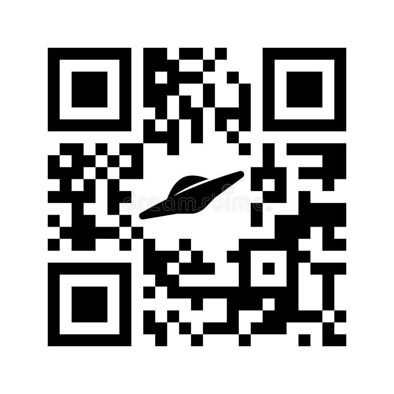 Código legible de Smartphone QR existen con el icono del UFO ilustración del vector