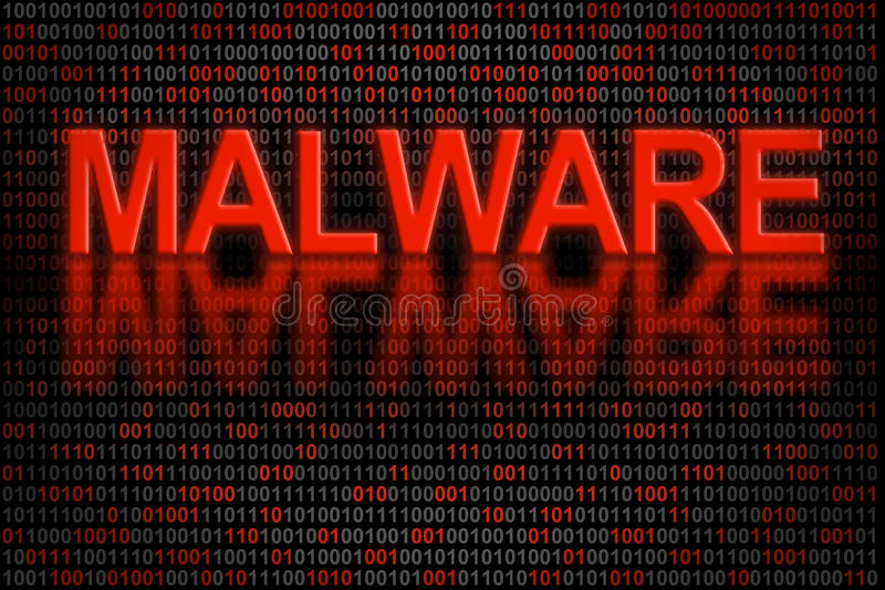 Código ou dados de software contaminado pelo malware ilustração royalty free