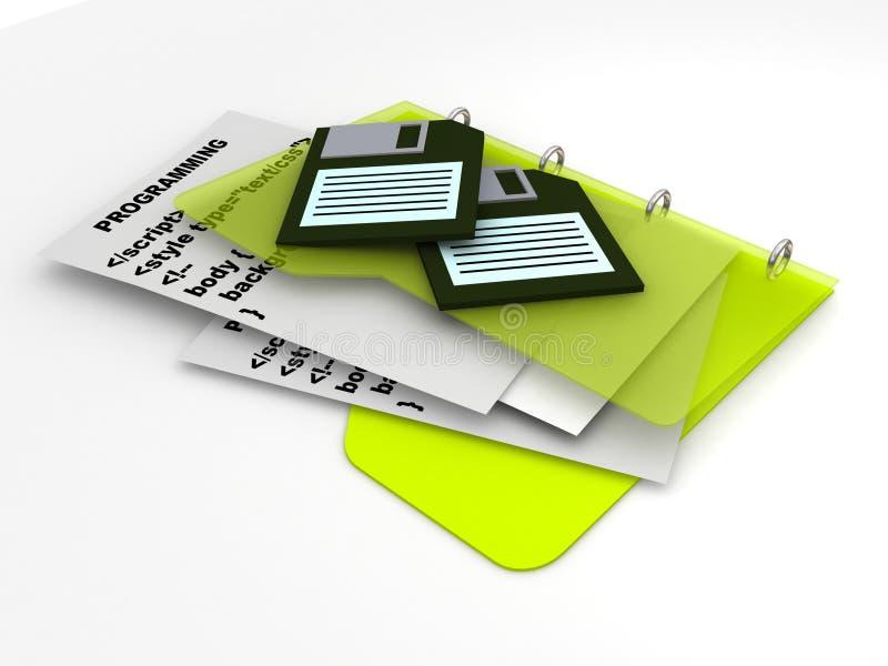 Código programado con las diskettes stock de ilustración