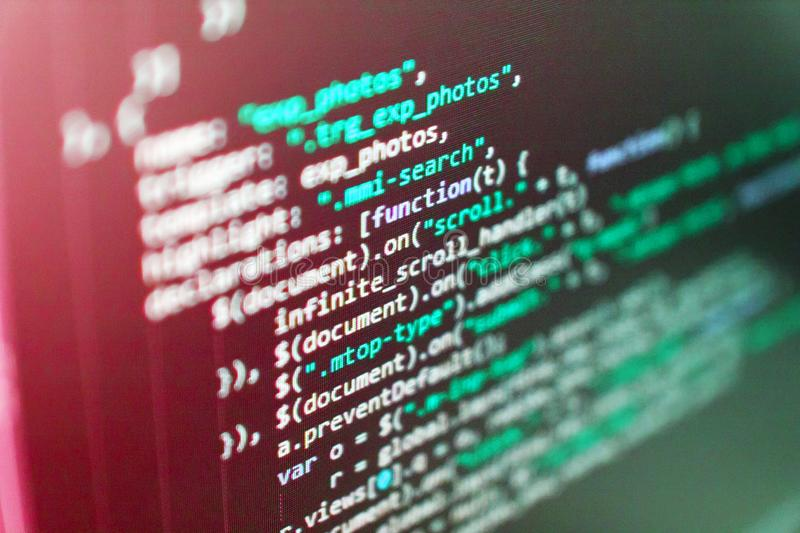 Código programado Software Engineer imagenes de archivo