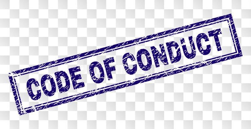 CÓDIGO riscado do selo do retângulo da CONDUTA ilustração royalty free