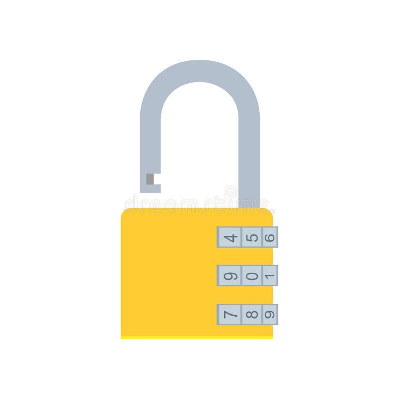 Código seguro da proteção da ilustração da segurança do ícone do vetor do cadeado do fechamento de combinação ilustração royalty free