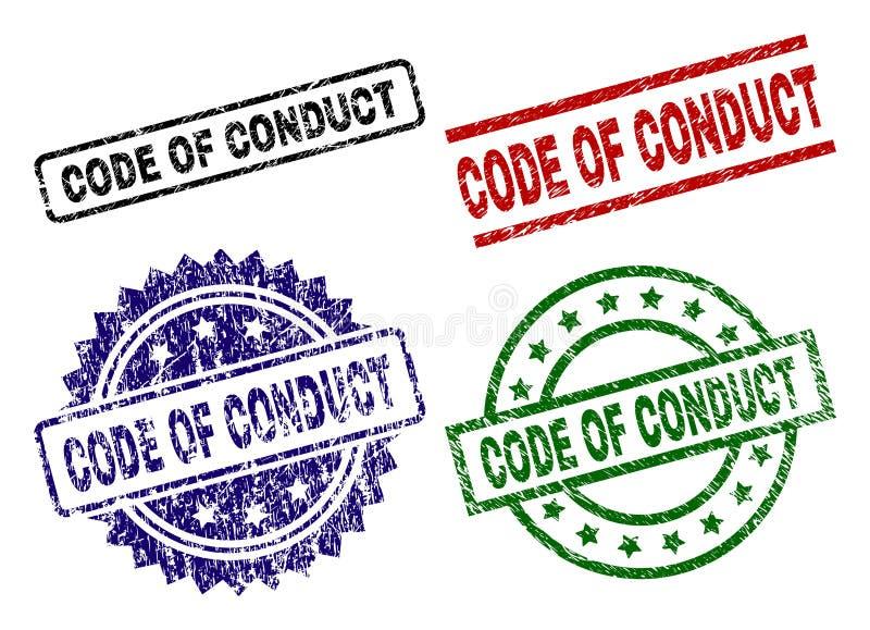 CÓDIGO Textured riscado de selos do selo da CONDUTA ilustração stock