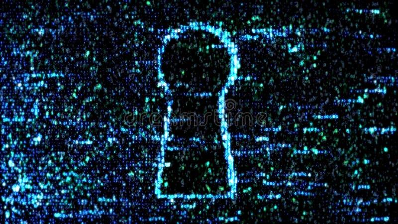 Código verde del ordenador El cortar del ordenador proteja ilustración del vector