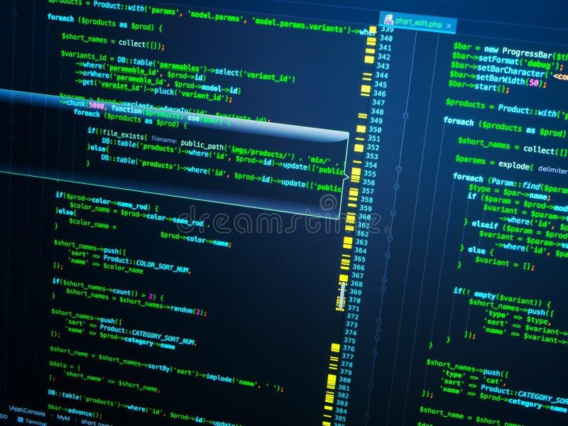 Código verde del PHP en el fondo azul marino en editor de código, macro fotografía de archivo libre de regalías