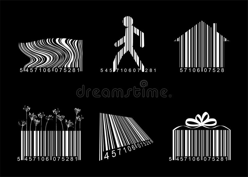Códigos de barras sobre o preto ilustração stock