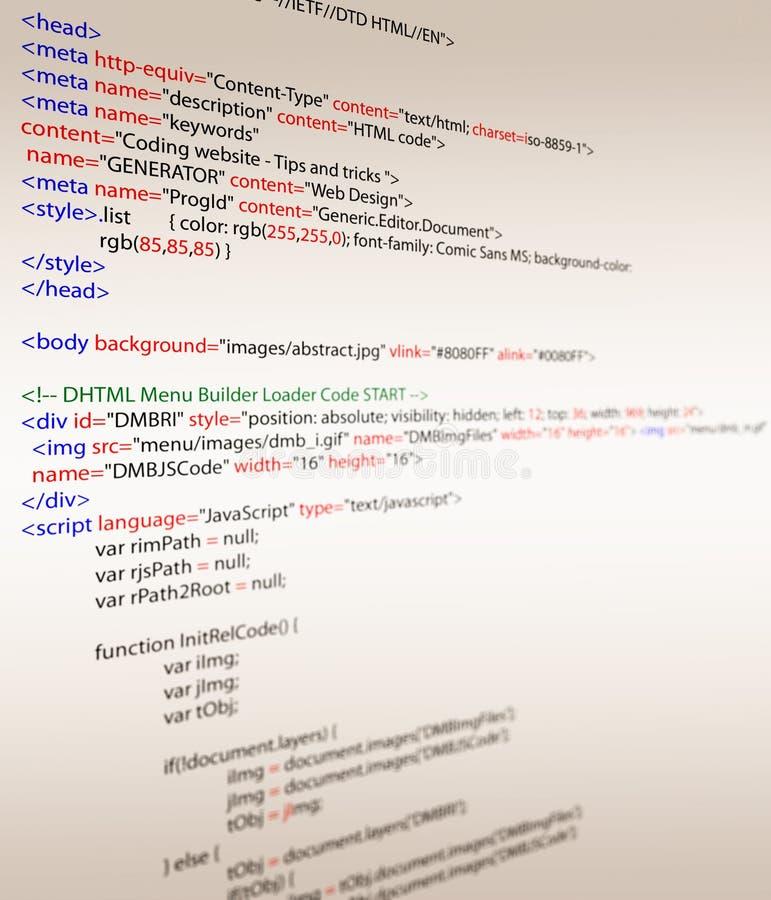 Códigos do HTML ilustração do vetor