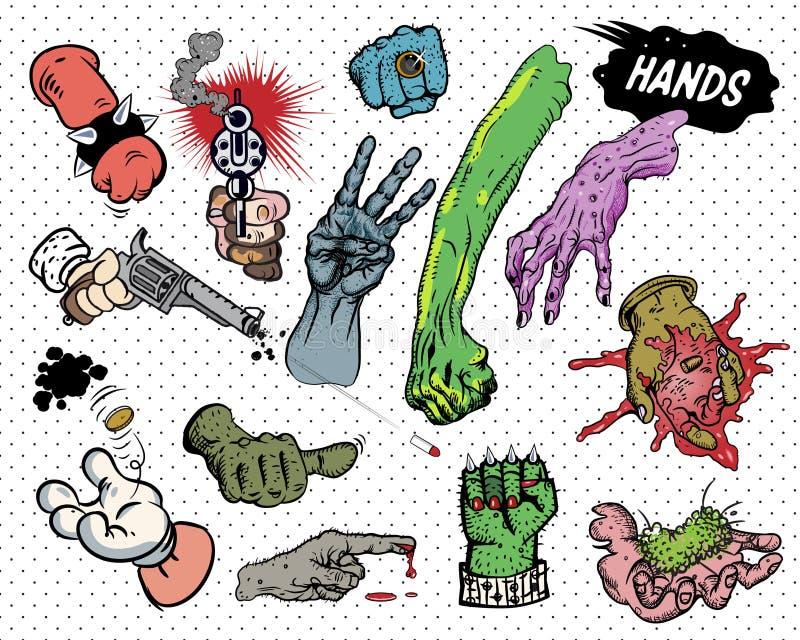 Cómic - manos. stock de ilustración