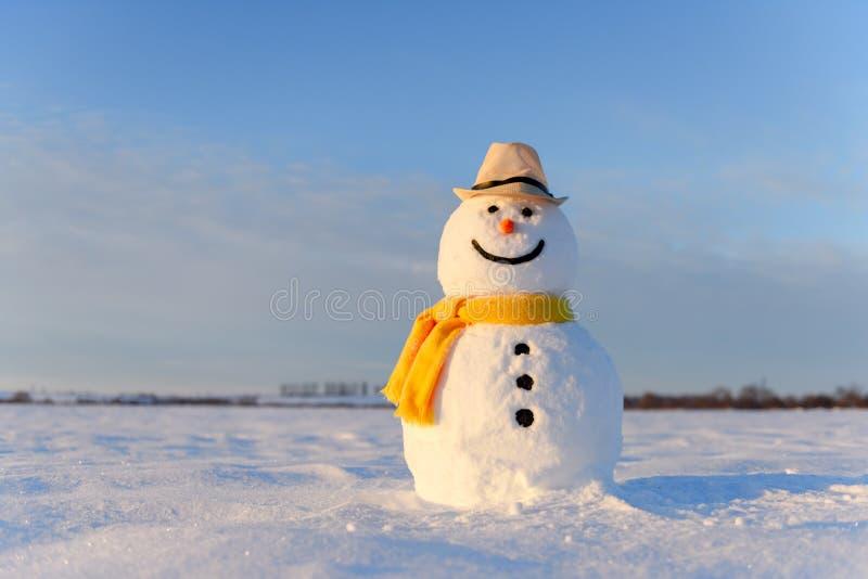 Cómico muñeco de nieve con sombrero negro fotos de archivo libres de regalías