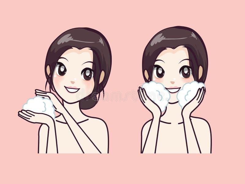 Cómo al limpiamiento facial del paso de la belleza de las mujeres hermosas ilustración del vector