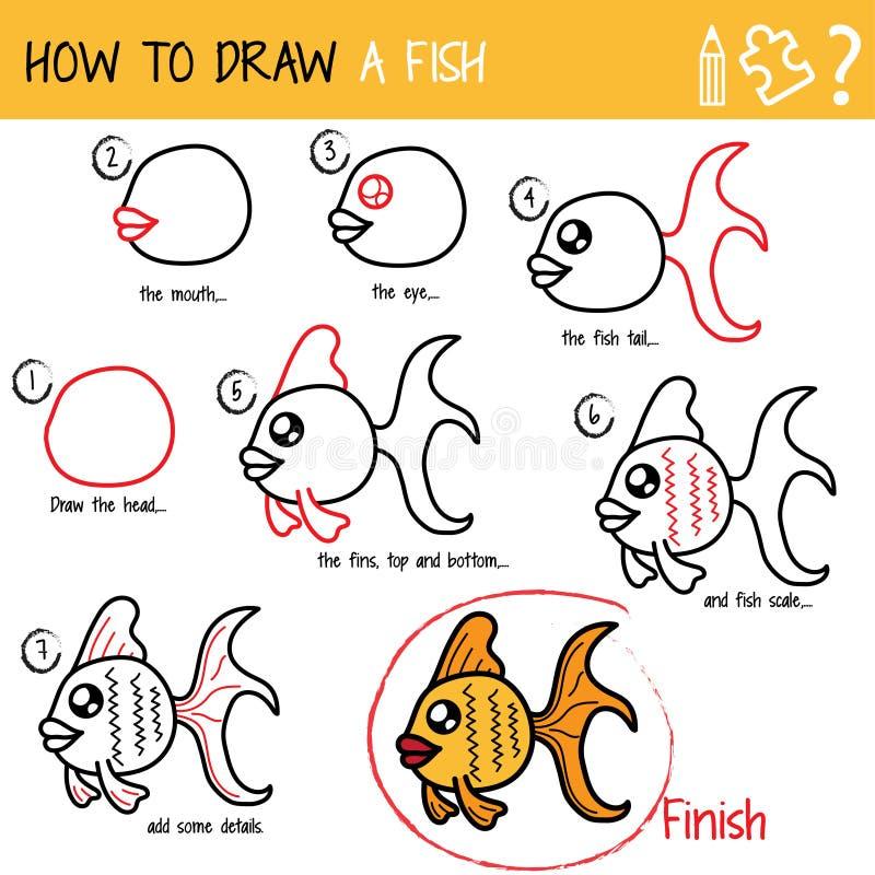 Cómo dibujar un pescado ilustración del vector