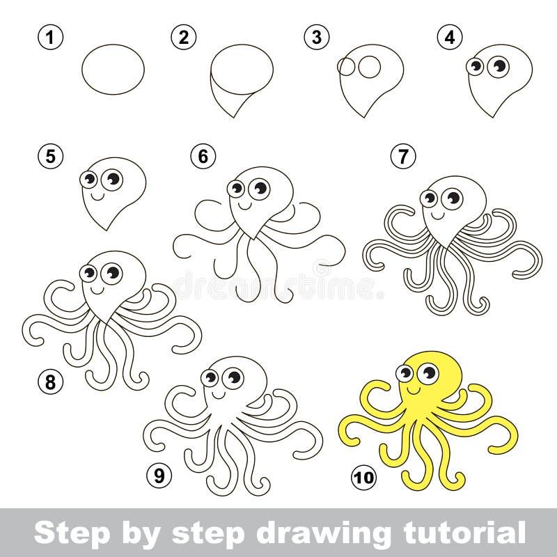 Cómo dibujar un pulpo ilustración del vector