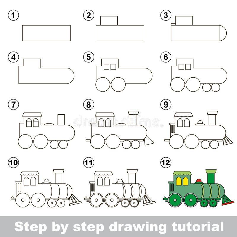 Cómo dibujar una locomotora stock de ilustración