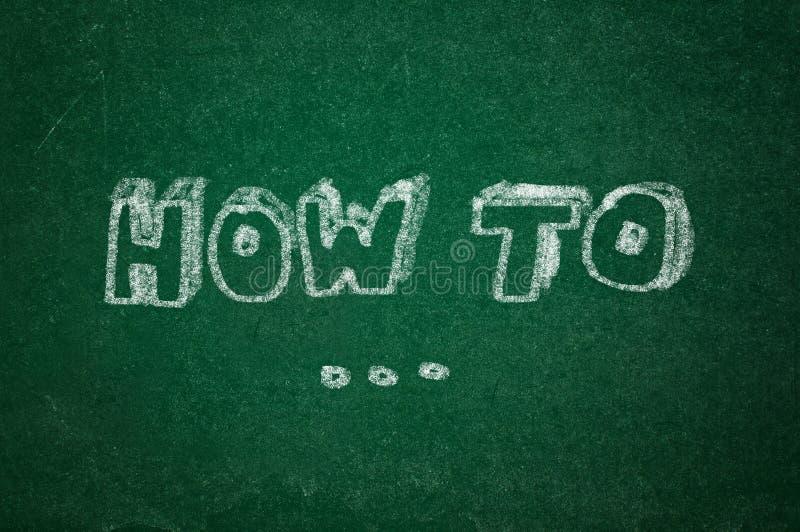 Cómo en a la pizarra verde imagen de archivo libre de regalías