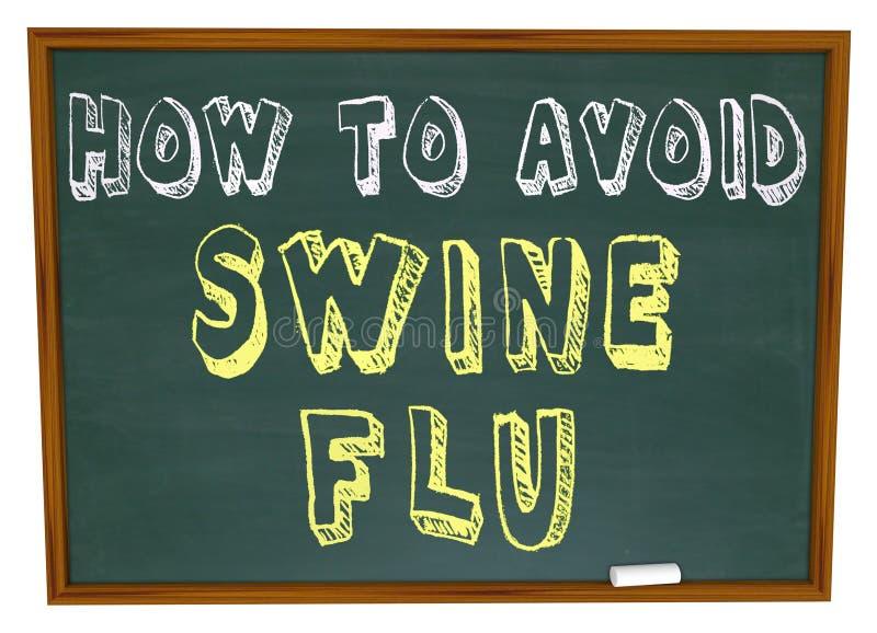Cómo evitar la gripe de los cerdos - palabras en la pizarra stock de ilustración
