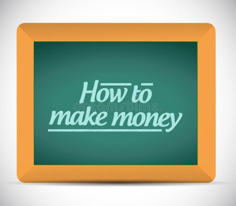 Cómo hacer el mensaje del dinero en una pizarra. stock de ilustración