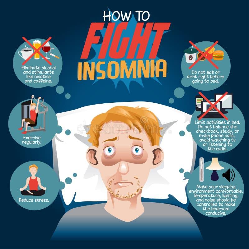 Cómo luchar insomnio stock de ilustración