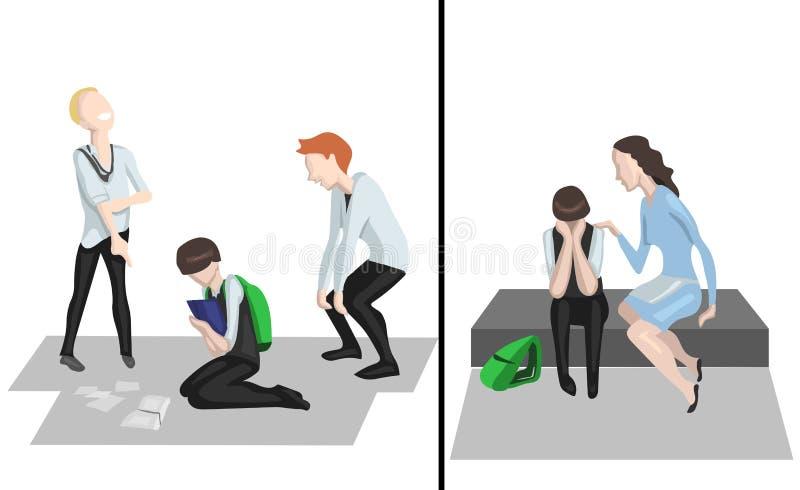 Cómo ocuparse de tiranizar en la escuela ilustración del vector