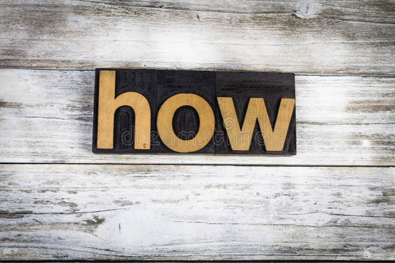 Cómo palabra de la prensa de copiar en fondo de madera imágenes de archivo libres de regalías