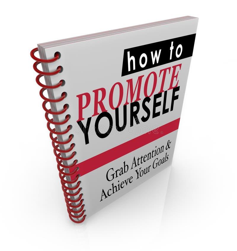 Cómo promoverse instrucciones manuales de la guía del libro stock de ilustración