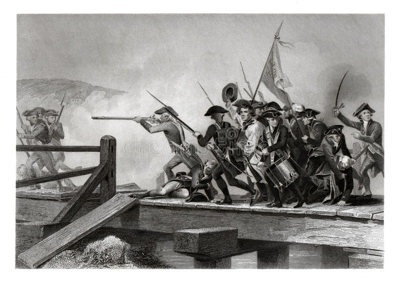 Cópia 1860 antiga: A batalha da ponte da concórdia, guerra de revolucionário americano, em abril de 1775 fotografia de stock royalty free