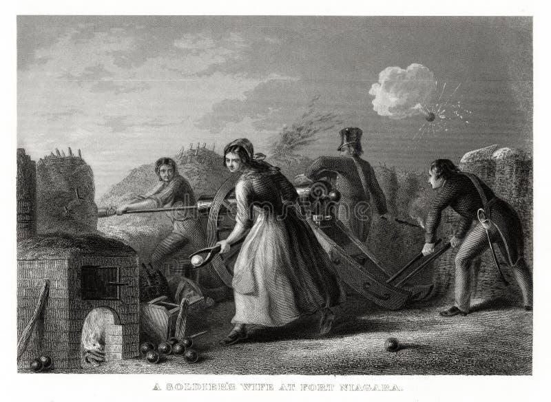 Cópia 1860 antiga: Uma esposa do ` s do soldado no forte Niagara, guerra de 1812 por T walker fotografia de stock royalty free